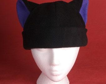 Kitty Cat Fleece Hat in Black and Purple for Women Men by Ningen Headwear
