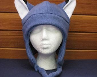 Fleece Fox Hat - Slate Blue Aviator Style by Ningen Headwear on Etsy