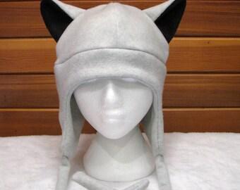 Animal Ear Hat Gray Wolf - Silver Grey Wolf Ear Fleece Aviator Ear Flap Hat