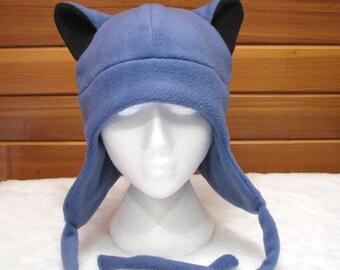 Blue Fleece Ear Flap Wolf Hat - Aviator Style Wolf Ear Hat