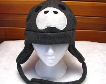 Manatee Hat - Dark Gray Fleece Trapper Hat by Ningen Headwear