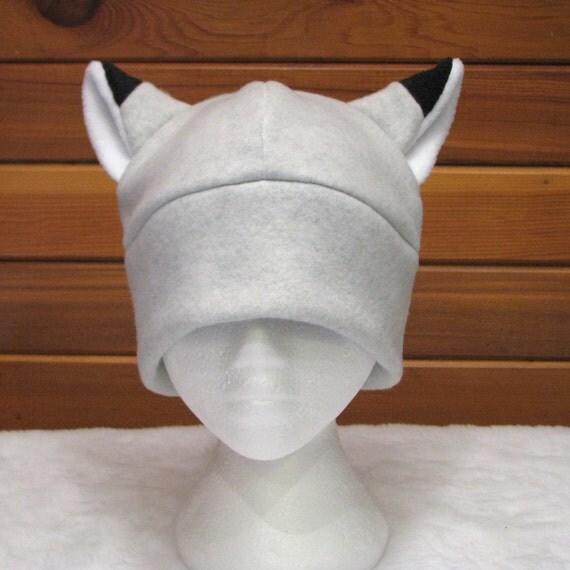Silver Fox Ear Hat - Light Gray Fleece Fox Hat Womens Mens Toque Hat