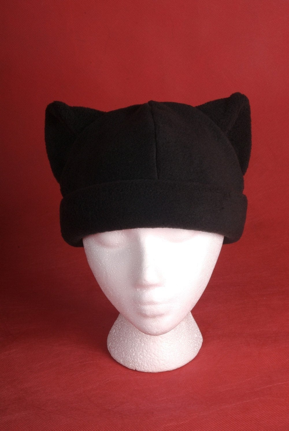 cat hat black fleece mens womens animal ear beanie by