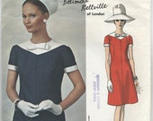 1960s Vogue Couturier Design Belinda Bellville A-LIne Dress Sewing Pattern 1777 Size 12 Bust 32, Contrast Yoke & Bow