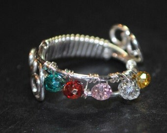 Multi Colored in Silver Wire Wrapped Ring