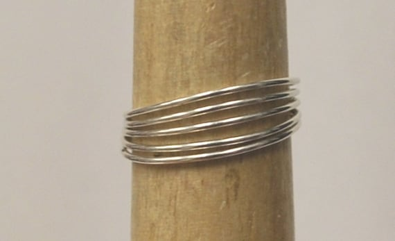 Sterling Silver Bands Ring Wire Wrapped Women's Large Size 7 3/4 Thumb Wife Anniversary Mother Christmas Ready to Ship  Midi Knuckle