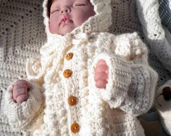 Crocheted Baby Irish Knit Sweater Hat Newborns Infants Custom Order Only