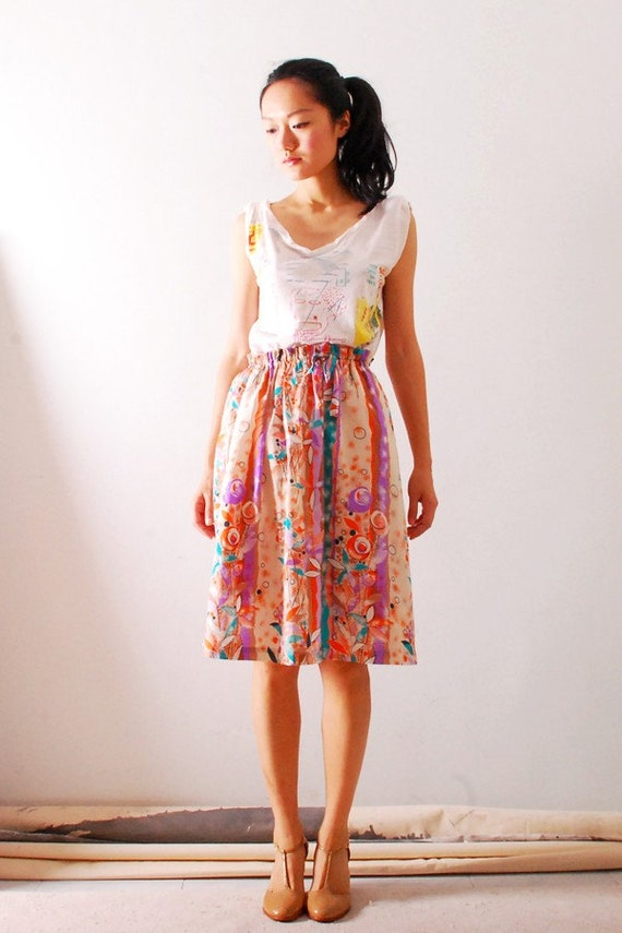 VTG 80s Floral and Bubble skirt