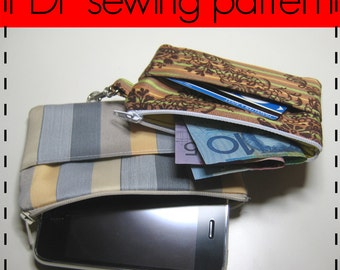 Zip Purse, Phone Pouch, Card Wallet, Ticket Purse D.I.Y Sewing Pattern - Easy, Beginners Pattern and Photo Tutorial