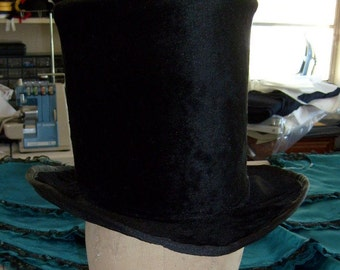 Victorian Black Fur Top Hat