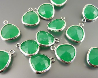 2 palace green unique glass charms for jewelry making, glass beads supplies, craft supplies 5031R-PG (bright silver, palace green, 2 pieces)