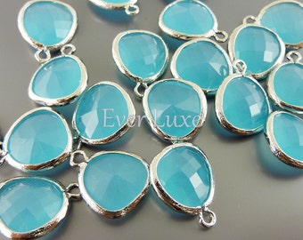 2 ocean blue unique glass charms for jewelry making / glass beads earrings necklaces / supply 5031R-OB (bright silver, ocean blue, 2 pieces)
