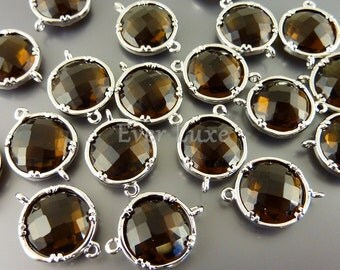 2 smoky quartz 12mm glass connectors, brown faceted round glass connectors 5014R-SQ-12 (bright silver, smoky quartz, 12mm, 2 pieces)