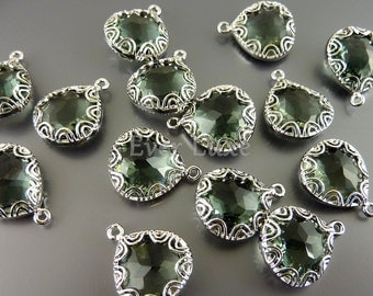 2 gray fancy lace rim framed glass pendants, glass jewelry making supplies / grey glass charms 5045R-GR (bright silver, gray, 2 pieces)