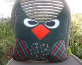"Christmas Decoration Owl Pillow Large 13"" x  15"" in Green and Red Handmade One of a Kind Ready to Ship"