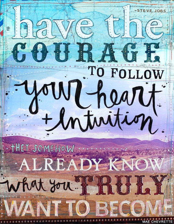 Heart and Intuition paper print - inspirational Steve Jobs mixed media word art