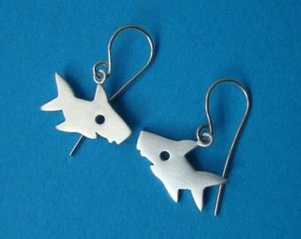 Shark Earrings sterling silver Shark Dangle Earrings beach earrings Kids  Earring Shark Jewelry dainty earrings sea dangle teen earrings