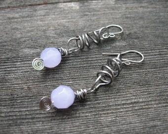Glass and Steel Purple Dangle Earrings