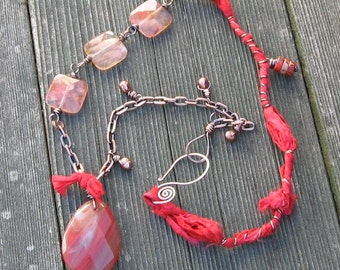 Frankly, My Dear, I Don't Give a Damn, Cherry Quartz and Scarlet Silk Necklace