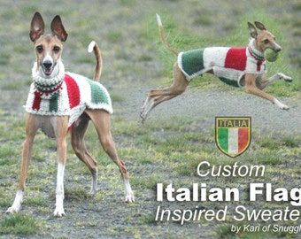 Custom Crocheted Italian Flag Italian Greyhound Sweater™