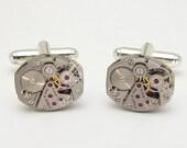 Steampunk cufflinks vintage Elgin watch movements gears wedding anniversary Grooms Gift silver cuff links men jewelry Steampunk Nation 2054