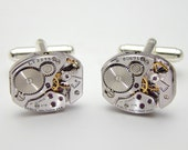 Steampunk Cuff Links Vintage Waltham Watch Movements with Gears & Ruby Jewels, Wedding Anniversary Gift, Silver Cufflinks Mens Jewelry 2915