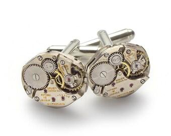 Steampunk Cufflinks Vintage Gruen watch movements wedding anniversary Grooms Gift silver cuff links men jewelry Gift by Steampunk Nation