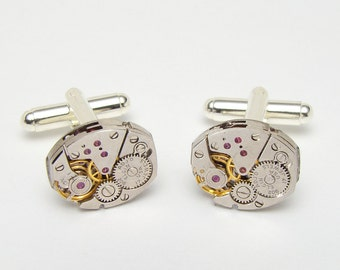 Steampunk cufflinks silver Vintage Elgin watch movements wedding anniversary Gift formal wear silver cuff links men jewelry Steampunk Nation