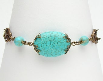 Blue Turquoise Bracelet, Turquoise Bead Bracelet, Wire Wrapped with Filigree & Leaf Motif, Gold Chain Bracelet, Jewelry by Steampunk Nation