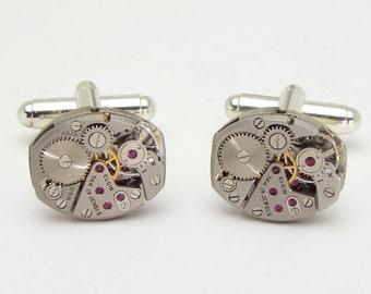 Steampunk cufflinks vintage Elgin watch movements gears wedding anniversary Grooms Gift silver cuff links men jewelry Steampunk Nation 2035