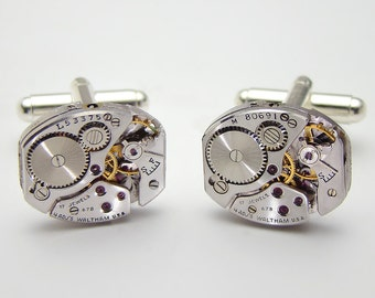Steampunk cufflinks vintage Waltham watch movements gears wedding anniversary Gift silver cuff links mens jewelry by Steampunk Nation
