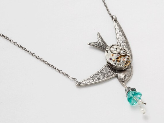 Steampunk necklace vintage watch movement silver swallow bird pearls filigree blue glass flower pendant jewelry by Steampunk Nation 1505