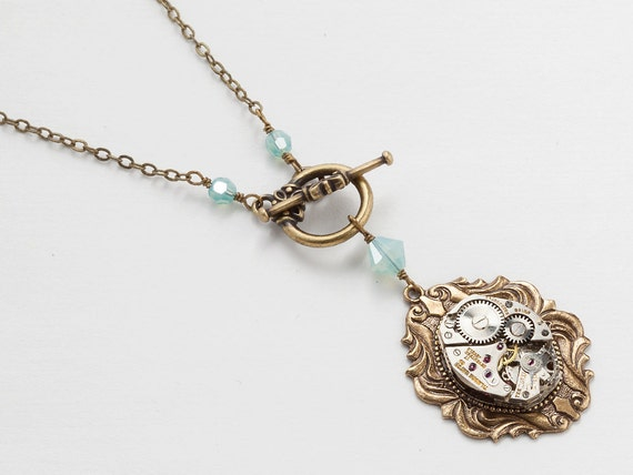 Steampunk Necklace vintage silver watch movement blue opal crystal Neo Victorian gold brass leaf pendant jewelry Steampunk Nation 1621