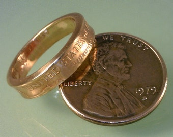 COIN RING ------- ( U.S.  Lincoln Penny ) ------- (( Pinky or Toe Ring )) - (( Choose The  Ring Size You Want ))