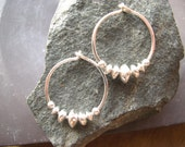 Classic Sterling Hoops. Solid Sterling Silver Earring Hoops. Medium 3/4 Inch Diameter. Graduated Saucer Beaded Hoops. Classic Beauty.
