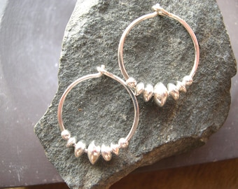 Classic Sterling Silver Hoops. Solid Sterling Silver Earring Hoops. Beaded Hoop Earrings. 0.925 Sterling Silver Earrings. Classic Hoops.