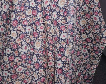 Vintage Schwartz Liebman Fabric ~ Red White & Blue Floral ~ Sheer Cotton Organdy ~By the Yard