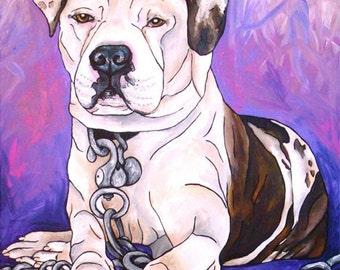 American Bulldog Painting 22 x 28 by artist Dyanna Bruno of My Paw Portrait