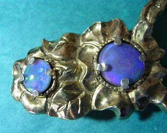Blue Fire Opal Women's Belt Buckle in Antiqued Gold Tone