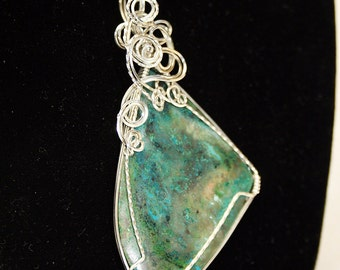 Sea Green Chrysocolla in Sterling Silver