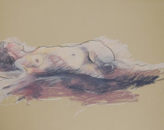 Original Figure Drawing Female in purple, blue and tan