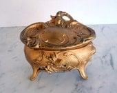 Art Nouveau Jewelry Casket // Gold Painted Spelter