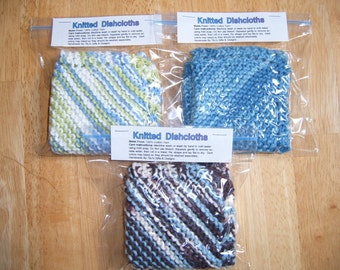 Set of 3 Knitted Dishcloths You Pick Colors Approx. Size 8 x 8