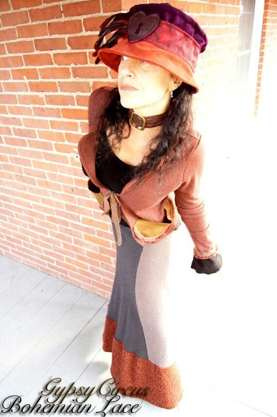 SALE - Steampunk Victorian Jacket - Dandy Tailored Waistcoat - Bohemian Chic - Terra Cotta - Boiled Wool - Pockets - Size X- Small