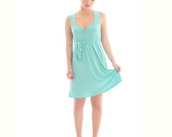 Spring dress, Cute mint tunic dress, Pastel spring dress, Sleeveless women dress, Spring trendy dresses by Onor