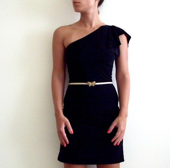 Black dress- One Shoulder Cocktail black dress  made to measure