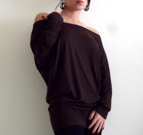 ON SALE- Brown top- Dolman Oversize Brown  Top with bat sleeves