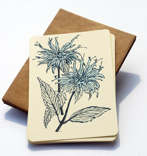 Wildflower Notecards in Blue and Cream -Set of 6 flat Notecards and Kraft Envelopes