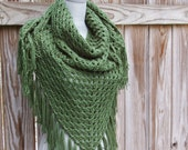 Triangle Scarf Shawl in Sage Green Hand Crocheted