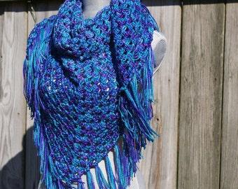 Crochet Shawl Crochet Triangle Scarf in Ocean Blue, Turquoise, Purple